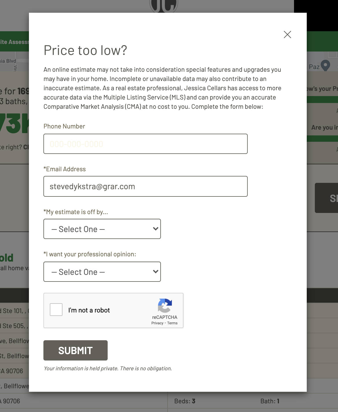 Price Too Low CTA