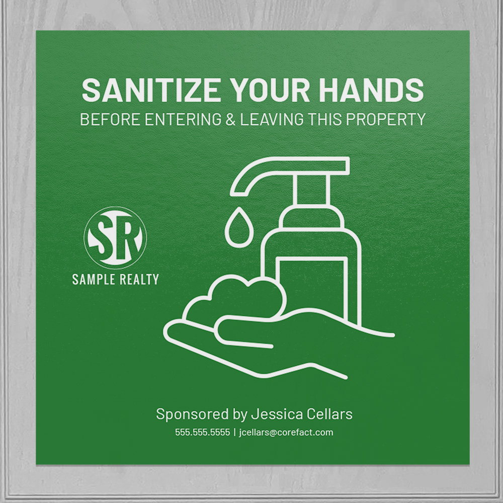 Corefact Square Cling - Sanitize Your Hands - Color