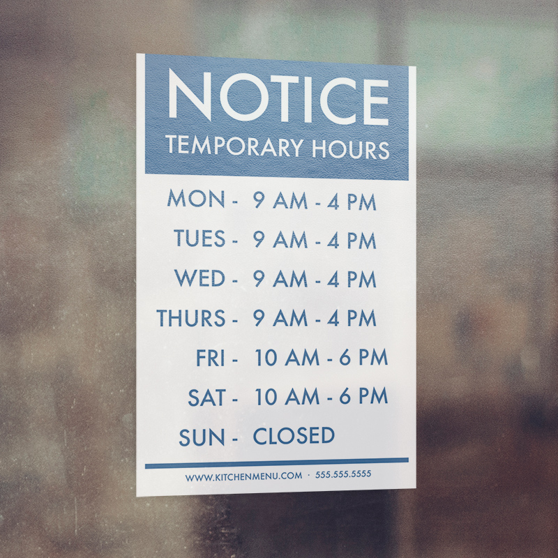Corefact Window Cling - Temporary Hours