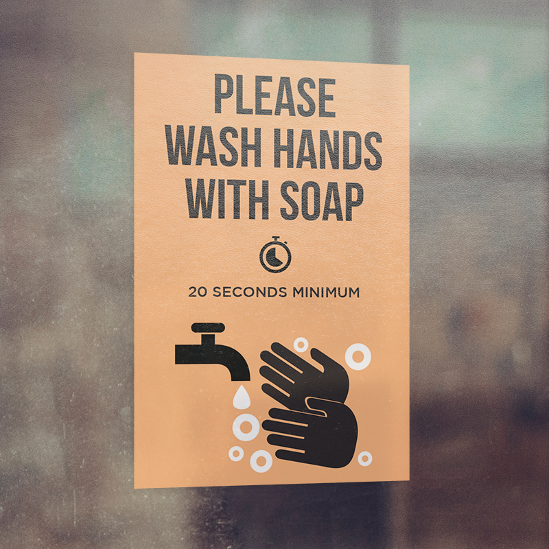 Corefact Window Cling - Please Wash Hands