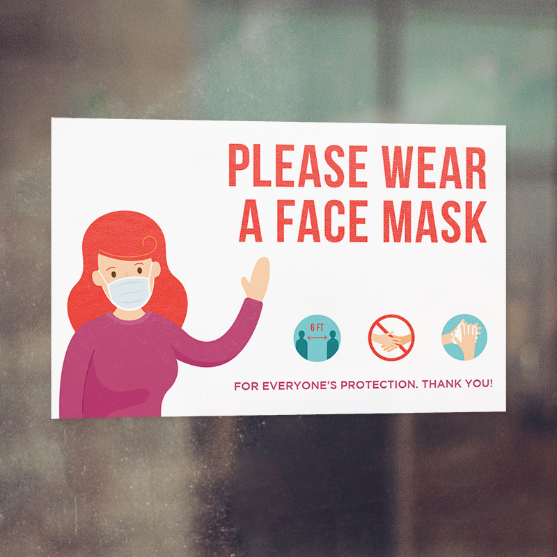 Corefact Window Cling - Please Wear a Face Mask for Protection