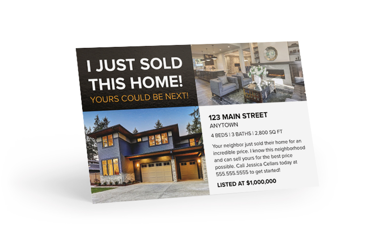 I Just Sold This Home Postcard -- Yours Could Be Next
