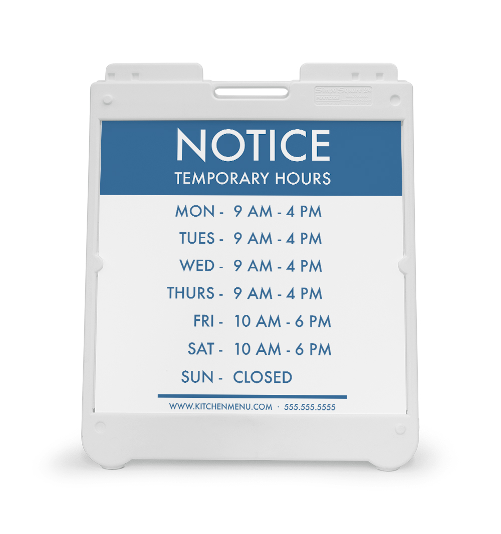 Corefact  A-Frame Sign - Temporary Hours