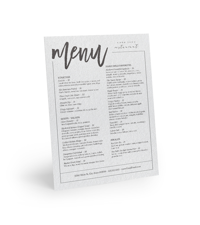 Corefact Menu - Casual Dining